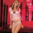 2Pc. Mesh Cap Sleeves Peasant Top and Chiffon Tie Side Panty-Lingerie