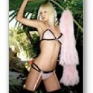 3 pc. Power mesh with contrast mesh ruffle bra top, thong, and garter-Lingerie