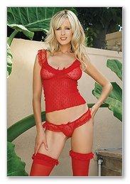 3 PC. Lace ruffle cami top, matching thong, ruffle trim stockings-Lingerie