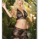 3 Pc. Lace halter top, wrap skirt with ruffle, and G-string set-Lingerie