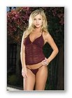 2 Pc. Ruched And Sequined Mesh Cami- Lingerie