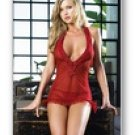 2 Pc. Mesh Deep V Mini Dress with Ruffle- Lingerie