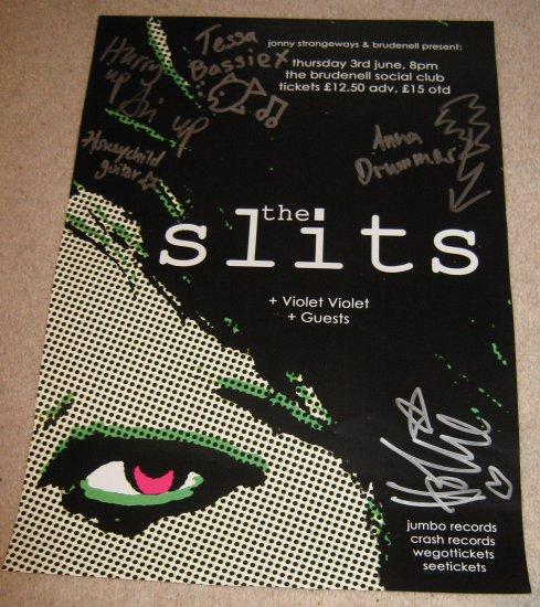 The Slits FULLY SIGNED Poster COA  100% Genuine
