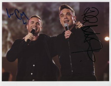 Robbie Williams & Gary Barlow SIGNED Photo + Certificate Of Authentication  100% Genuine