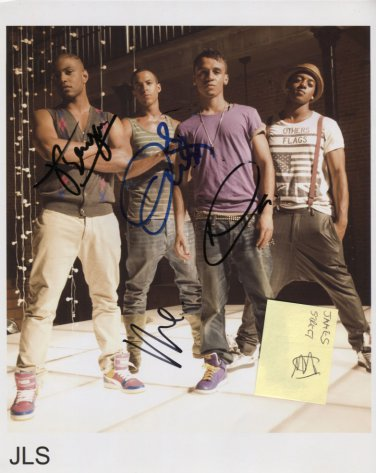 """JLS (Boy Band) FULLY SIGNED 8"""" x 10"""" Photo + Certificate Of Authentication 100% Genuine"""