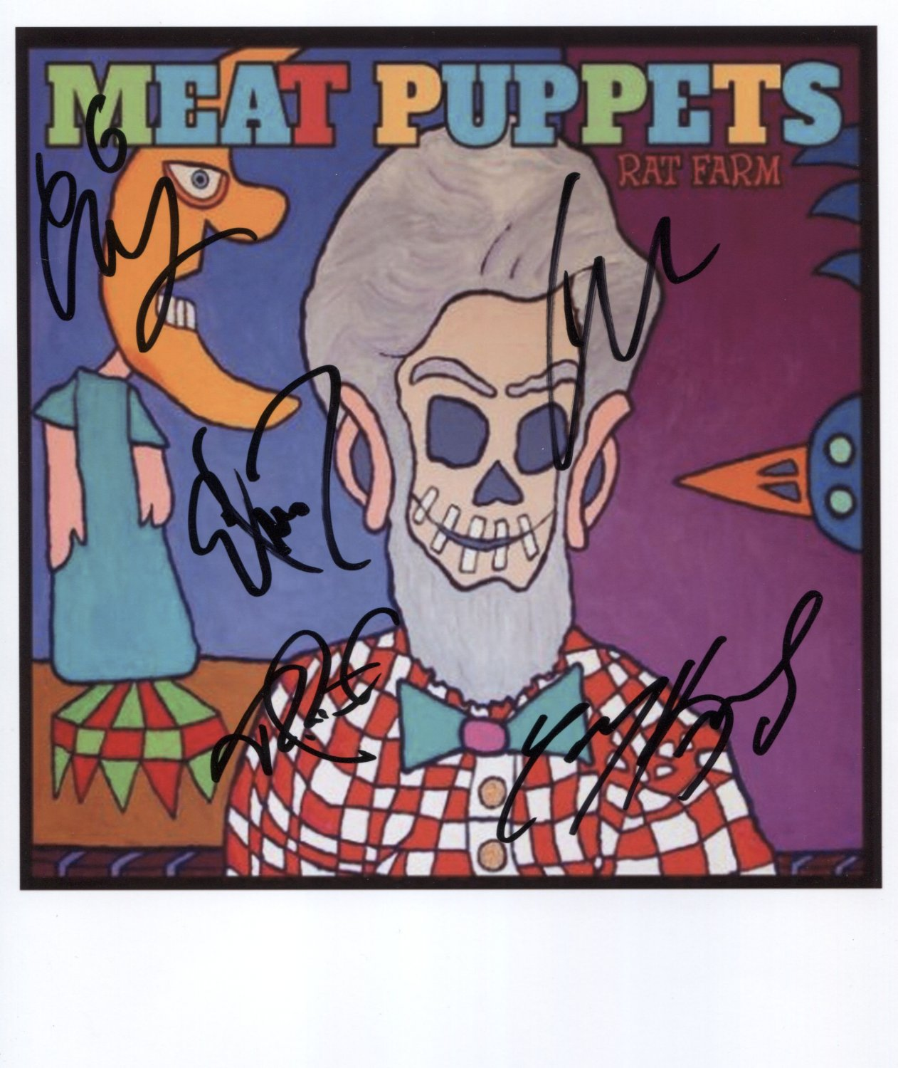 """Meat Puppets (Band) FULLY SIGNED 8"""" x 10"""" Photo + Certificate Of Authentication 100% Genuine"""