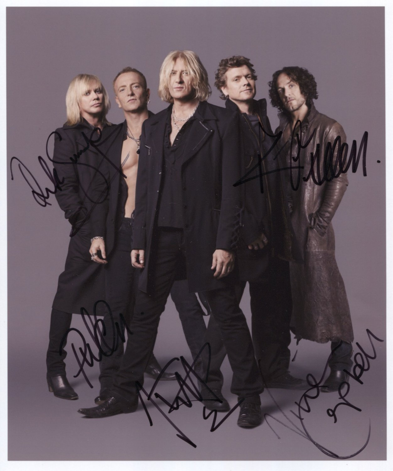 """Def Leppard FULLY SIGNED 8"""" x 10"""" Photo + Certificate Of Authentication 100% Genuine"""