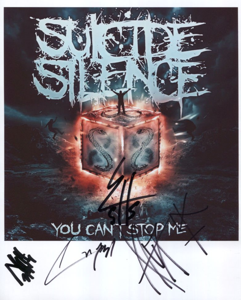 """Suicide Silence (Band) SIGNED 8"""" x 10"""" Photo + Certificate Of Authentication  100% Genuine"""