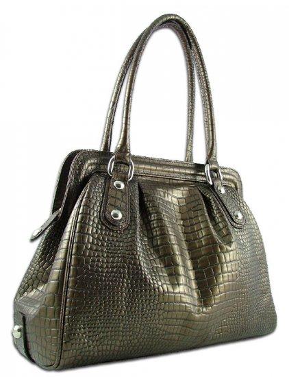 Carbotti Bronze Croc Italian Designer Leather Handbag