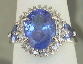 4.07CTW Violet Blue Tanzanite & VS-SI Diamonds 14K G