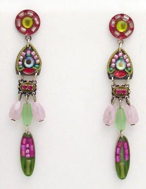Signed ADAYA Maya Crystal Beads Mosaic Earrings