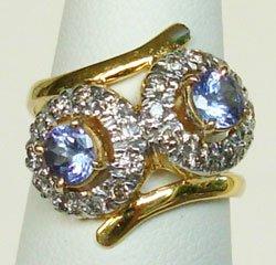Sparkly Natural Violet Blue Tanzanite & Diamonds 14K Go