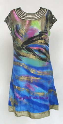 Stunning 100% Silk Print Dress sz 6 US 10 UK 36 EU