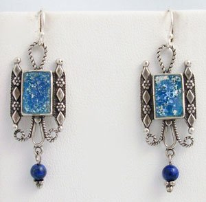 Hand Made Sterling Silver & Anciant Roman Glass Earring