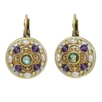 Michal Golan Earrings - Pearls Amethyst & Abalone