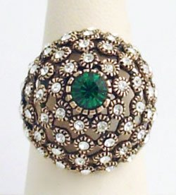Dome Ring Swarovski Crystals 60's Reproduction Sz 7