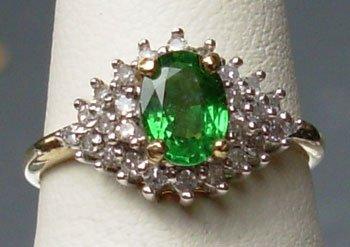 Natural Rare Green Tsavorite & Diamonds 10K Gold Ring