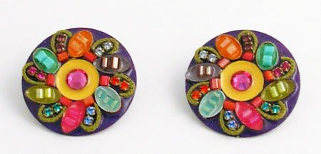 Signed ADAYA Clip On Micro Mosaic Earrings