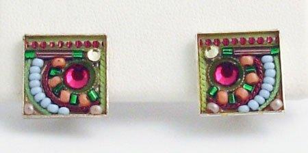 Signed ADAYA Maya Rayten Micro Mosaic clip Earrings