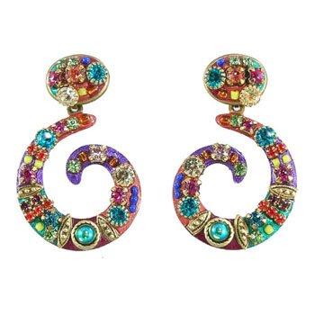 Michal Golan Swirl Earrings - Swarovski Crystals