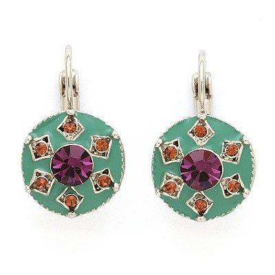 Exotica Vintage Style Swarovski Crystals & Enamel Earri