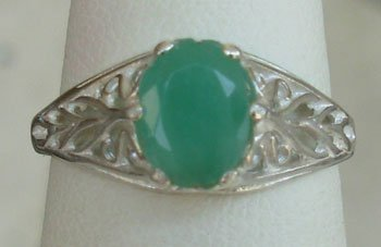Natural Green Emerald Sterling Silver Ring