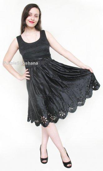 100% Silk Eylet Black Dress 6 US 10 UK 36 EU