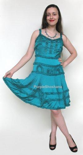 Stunning High Fashion Teal Silk Dress sz 6 US 10 UK 36