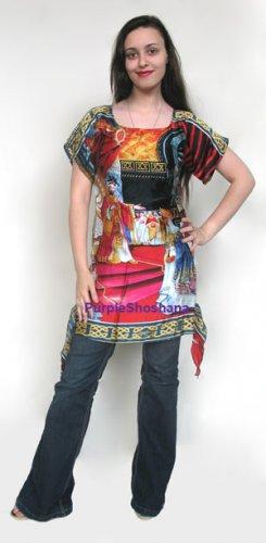 Art Print On 100% Silk Dress Tunic sz 4 US 8 UK 34 EU