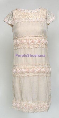 100% Silk Dress Victorian Style sz 4 US 8 UK 34 EU