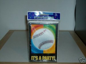 BRAND NEW COLORFUL BASEBALL PARTY INVITATIONS