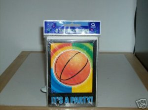 COLORFUL BASKETBALL IT'S A PARTY  !  INVITATIONS