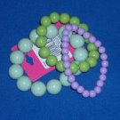 Set of 3 Spring Green Purple Stretch Bead Bracelets