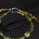 """Beaded Necklace and Bracelet Set - """"Amber & Green"""""""