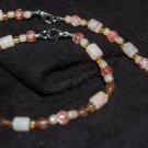 "Beaded Necklace and Bracelet Set - ""Peach"""