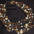 Necklace - Multistrand Beaded Necklace - Brown