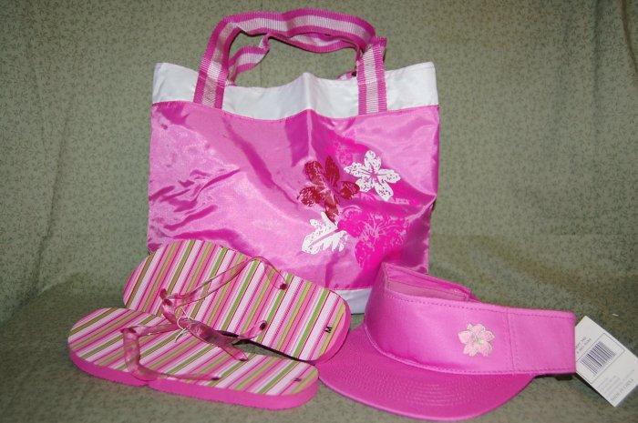 Summer Set  - Tote Bag, Sun Visor & Flip Flops
