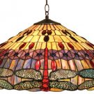Handcrafted Dragonfly Design Tiffany Style Hanging Lamp