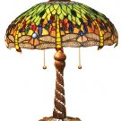 Handcrafted Dragonfly Swirl Base Tiffany Style Table Lamp