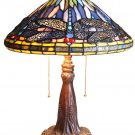 Handcrafted Dragonfly Tiffany Style Stained Glass Table Lamp