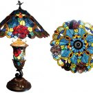 Stunning Handcrafted Antique Look Roses Tiffany Style Stained Glass Lamp