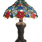 Handcrafted Summer Roses Tiffany Style Table Lamp
