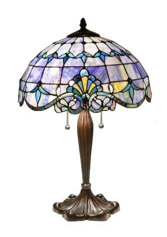 Handcrafted Victorian Blues Tiffany Style Table Lamp