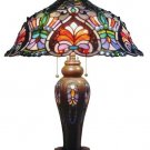 Handcrafted Victorian Tiffany Style Table Lamp With Lit Base