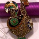 Antique Silver and Enamel Rooster Brooch