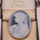 Beautiful European 18K Blue Agate Giant Cameo Pin/Pendant