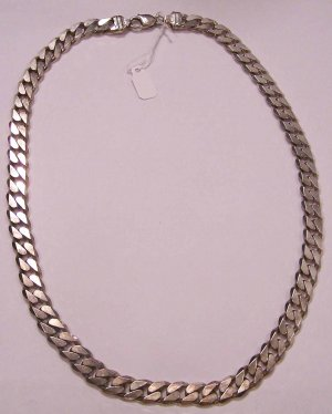 "Heavy Solid Sterling Silver 22"" Curb Chain Necklace"