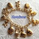Gold 18K Plated Easter Charm Bracelet- rare