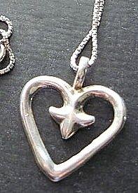 Sterling Silver Pendant Heart Fleur de Lis w Chain Necklace