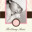 Baby Boy or Girl Damask Birth Announcement- Customized with Baby Name and Photo